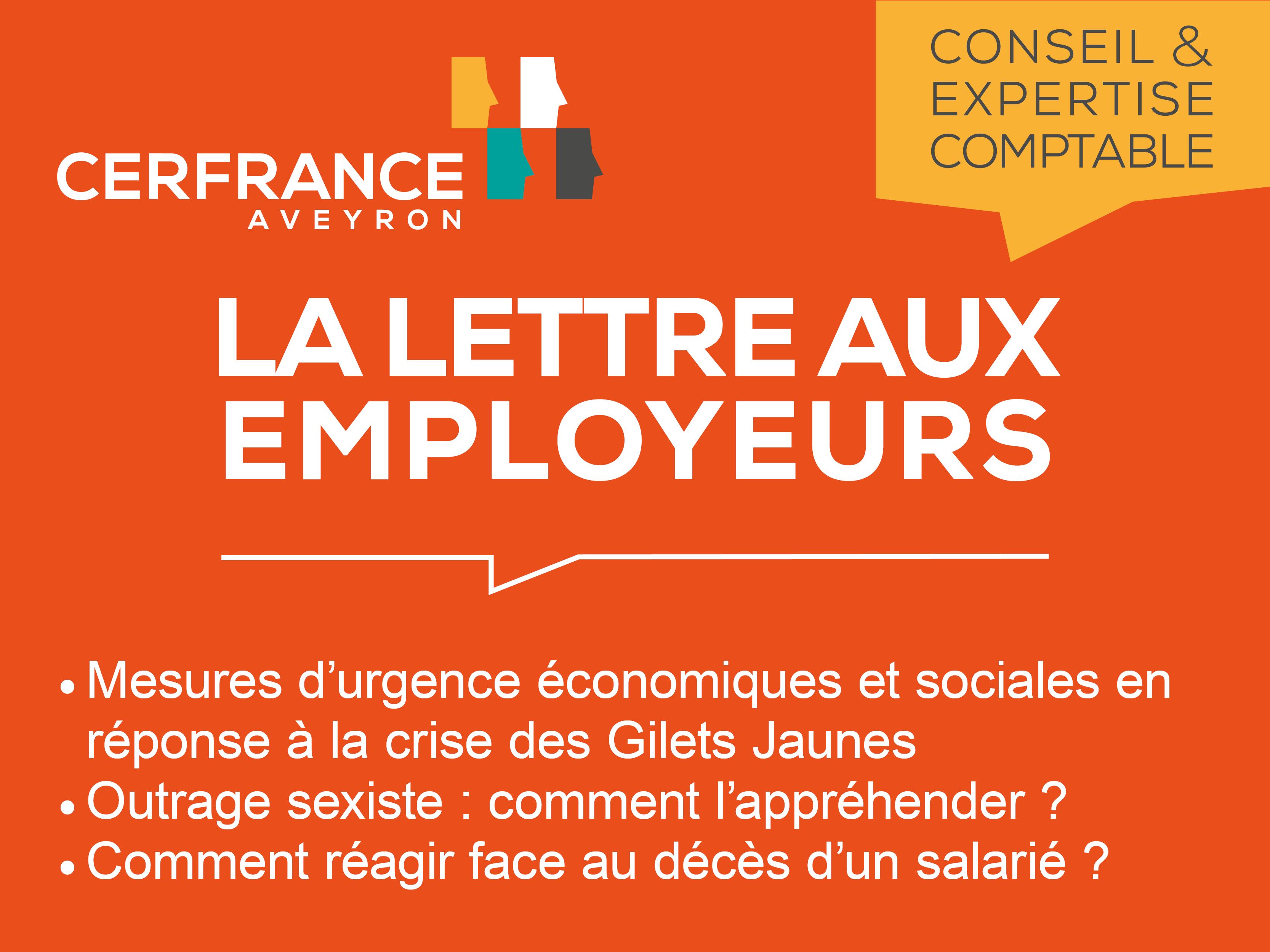 Lettre aux employeurs - Janvier 2019